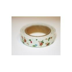 Ruban tissu adhésif Masking Tape  Fabric tape blanc à petites fleurs rouges et bleues