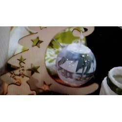 Film Rétractable Manchon Neige & Poinsettias pour 4 boules de Noël 8 cm