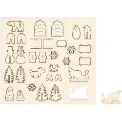 Miniatures figurines en bois prédécoupé LE PERE NOEL avec décor