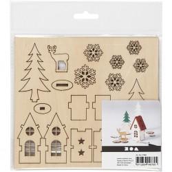 Miniatures figurines en bois prédécoupé Paysage d'hiver forêt maison cerf