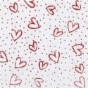 Feutrine fond blanc coeurs rouges paillettes A4  (vendue à l'unité)