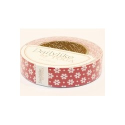 Ruban tissu adhésif Masking Tape  Fabric tape fond rouge petites fleurs blanches
