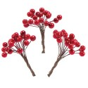 Baies rouges doubles sur tiges souples lot env 25 p (x2 fruits rouges)