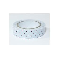 Ruban tissu adhésif Masking Tape - Fabric tape fond clair et petits pois