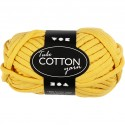 Pelote de fil de coton tubulaire, L: 45 m, jaune, 100gr