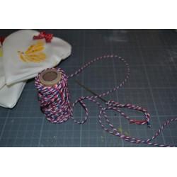 Ficelle décorative Twine multi services bicolore coton Blanc/Rouge  5 m (vendue en sachet)