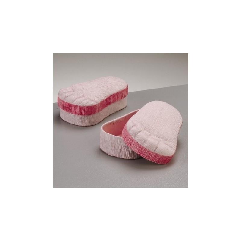 Boite décorative pied de bébé rose en carton & papier crépon