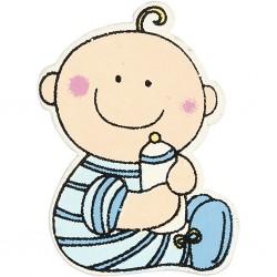 Bébé découpes bois 24 x 35 mm - Bleu clair - sachet 10 pcs