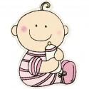 Bébé découpes bois 24 x 35 mm - Rose clair - sachet 10 pcs