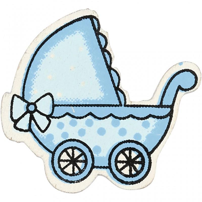 Landeau bébé Formes en bois 34 x 31 mm - Bleu clair - 10 pcs
