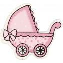Landau bébé Formes en bois 34 x 31 mm - Rose clair - 10 pcs