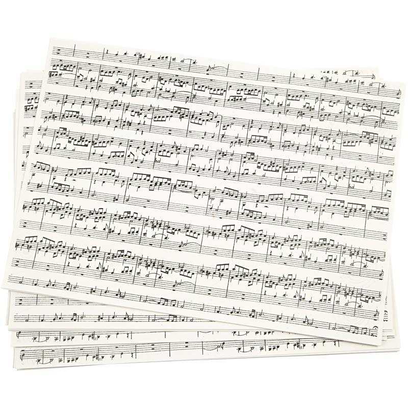 Papier kraft imprimé Notes de Musique A4 210x297 mm, 100 gr