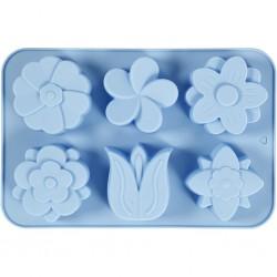 Moule en silicone, 6 FLEURS 60x75 mm, 75 ml, bleu clair,  1pièce