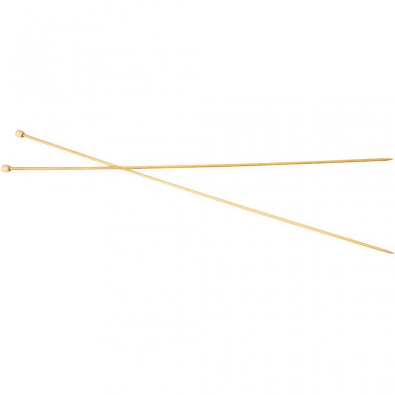 Aiguilles à tricoter en Bambou, 2 , L: 35 cm, 1paire