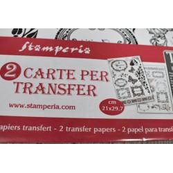 Transfert 2 planches A4, Etiquettes Ornements textes, Stampéria