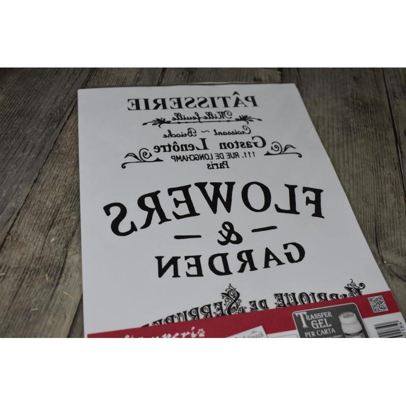 Transfert 2 planches A4, Labels Ornements textes, Stampéria