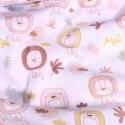 Tissu Popeline Coton Bio Lions pastels sur fond Blanc - Par 10 cm