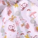 Tissu Popeline Coton Bio Singe/oiseaux sur fond Blanc - Par 10 cm