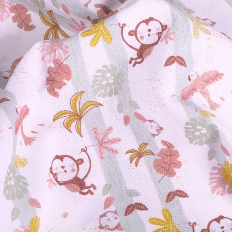 Tissu Popeline Coton Bio Singe et oiseaux sur fond Blanc - Par 10 cm