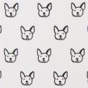 Tissu têtes chiens noirs s/fond écru, Robert Kaufman, par 0,10 cm