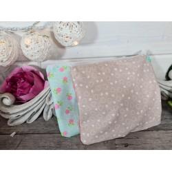 """Tissu Coton lot 4 pièces 45cm x 55cm  collection Fabric """"Douceur acidulée""""  bleu clair/beige fleuri assortiment motifs"""