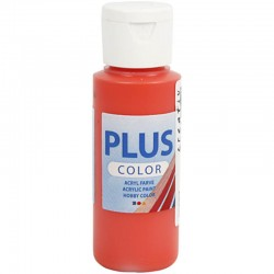 Peinture Acrylique Plus Color, Brilliant Red, 60 ml, couvrante, 1 Flacon
