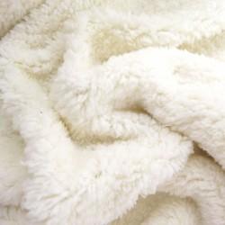 Tissu Fausse fourrure Emma Ecru, largeur 1,50m, vendu par 10 cm, peluche, polaire, vêtement