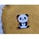 Bouton Panda noir et blanc bois vendu à l'unité, env. L 2,8 cm, H : env. 3,4 cm