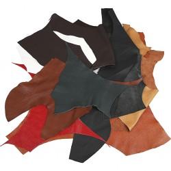 Chutes de cuir véritable brun, lot sachet 200 gr