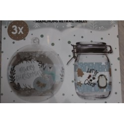 Film Rétractable Manchon NOEL 3 DECO  MAX 12 cm, BLEU