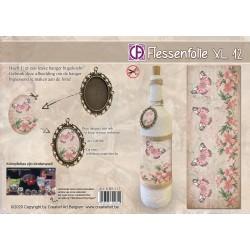 Film Rétractable Manchon 1 DECO  Shabby rose XL Bouteille/bocal/boule Papillons
