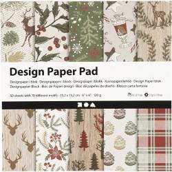 Bloc De Papier Design, 120 gr, 50 Feuilles NOEL en VERT 1 Pq.