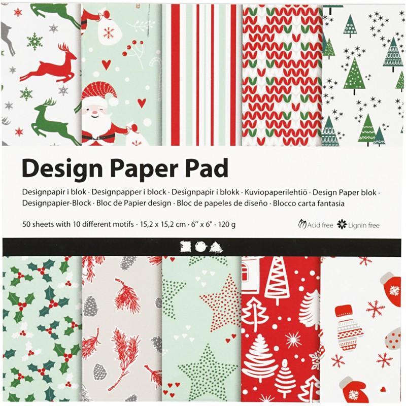 Bloc De Papier Design, 120 gr, 50 Feuilles NOEL en ROUGE & VERT 1 Pq.