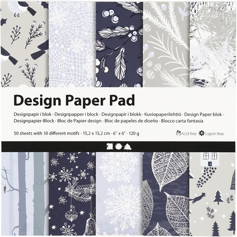 Bloc De Papier Design, 120 gr, 50 Feuilles NOEL en BLEU MARINE  1 Pq.