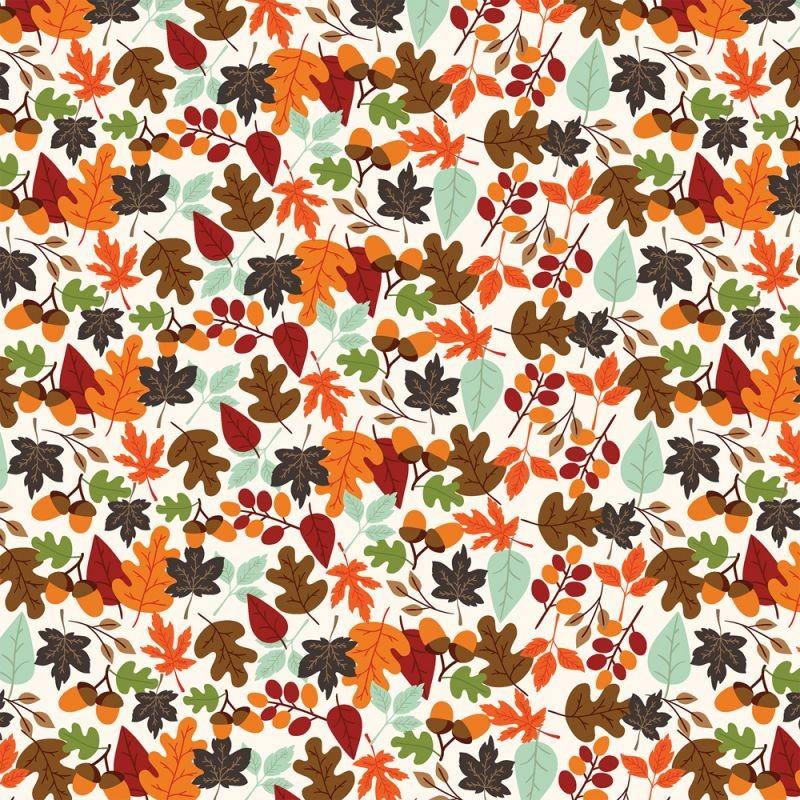 Paper scrap double 30X30  Echo Park Paper  My Favorite Fall' Falling Leaves Automne