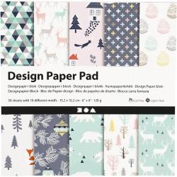 Bloc Papier Design, 120 gr, 50 Feuilles NOEL en VERT D'eau Bleu 1 Pq.
