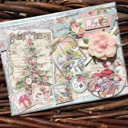 Papier scrap Boule de NOEL  Pink Christmas STAMPERIA 30X30cm, 1 feuille double face