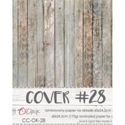 Couverture spécial Album SCRAP COVER-28  BOIS VINTAGE BRUN planches, 170 gr