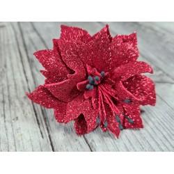 Plaque de Mousse thermoformable pailletée rouge A4  20 cm x 30 cm, poinsetias, NOEL