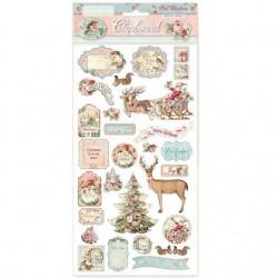 Chipboard  /Dies-Cut set Christmas Pink STAMPERIA, 29 pièces spécial Scrapbooking