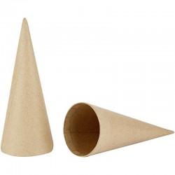 Cône en papier mâché hauteur 20 cm diamètre 8 cm, à l'unité