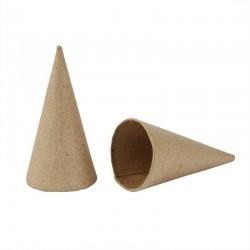 Cône en papier mâché hauteur 13 cm diamètre 7 cm, à l'unité