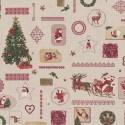 Tissu Toile de Coton aspect lin Sapins/motifs de noël sur fond Beige - vendu Par 10 cm