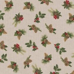 Tissu Toile de Coton aspect lin Houx/ pomme de pin sur fond Beige - vendu Par 10 cm