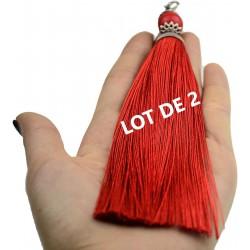 Pompon gland, rouge , grand : 16 cm, avec perles & métaux argenté LOT de 2