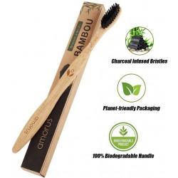Brosse à dent Bambou, Poils Doux Ergonomique, Vegan en Fibre de Charbon Végétal