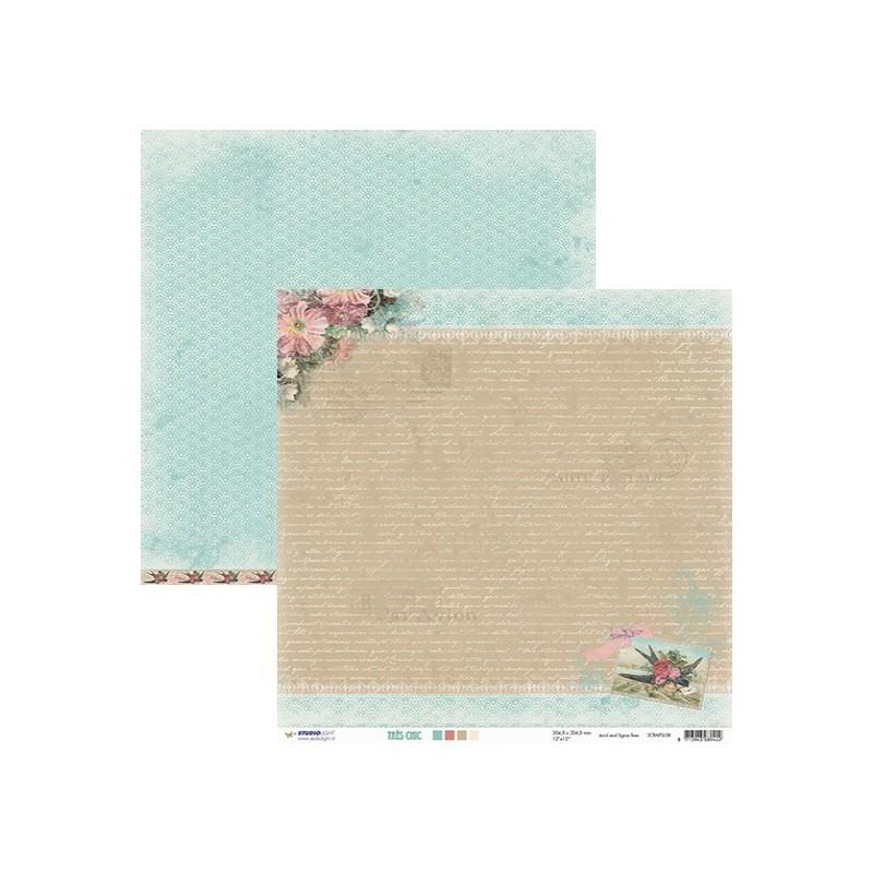 Papier Shabby Chic Lettre d'Antan 1 feuille imprimé Recto Verso 30.5 X 30.5 cm