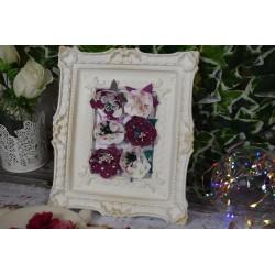 Cadre Photo Baroque blanc plâtre blanc Pieds H18 cm x L 14 cm