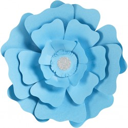 Fleurs XL Papier 230gr Kit 2 P :15+25 cm Bleu ciel Mariage/Fêtes
