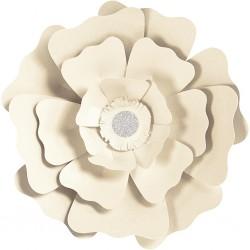 Fleurs XL Papier 230gr Kit 2 P :15+25 cm Blanc Cassé Mariage/Fêtes